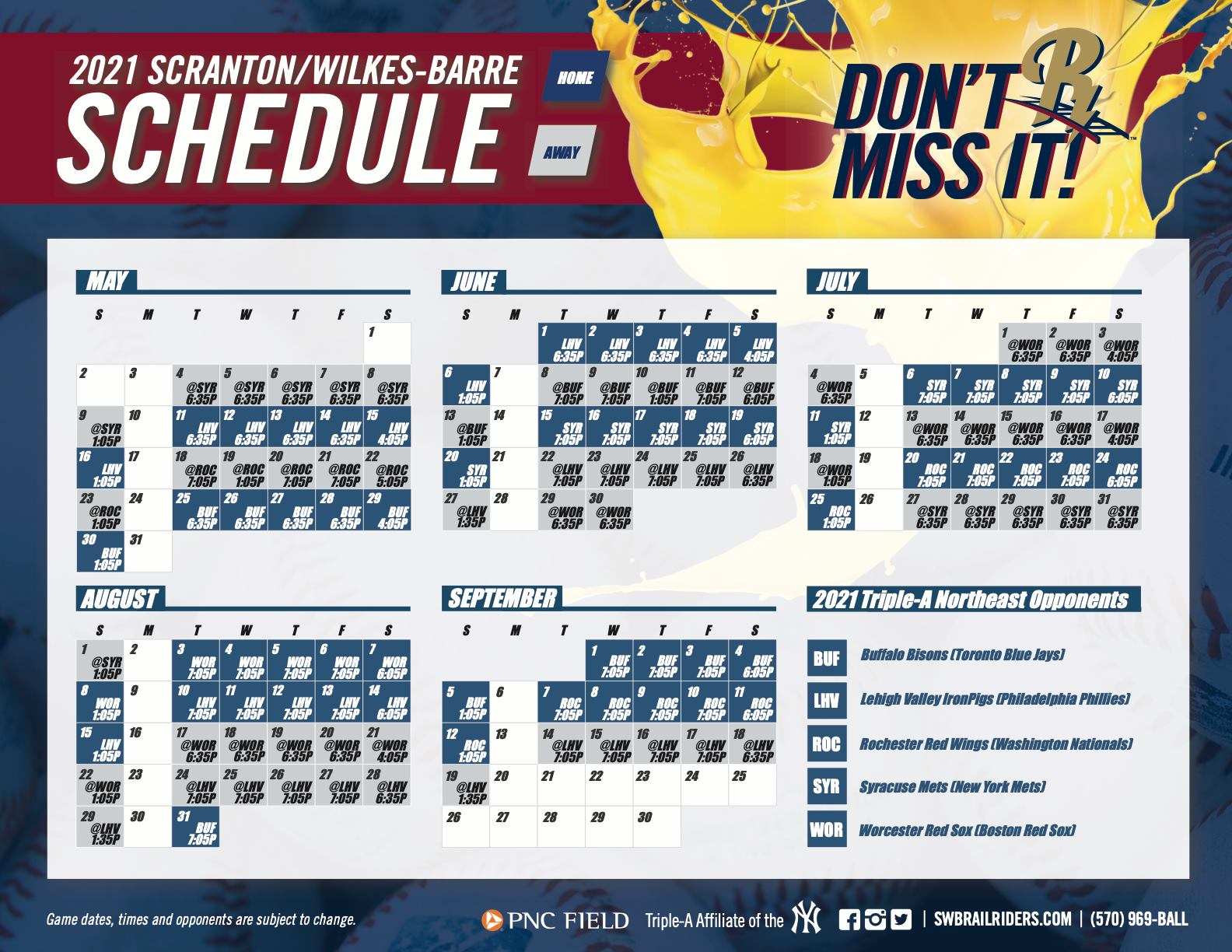 2021 RailRiders Schedule